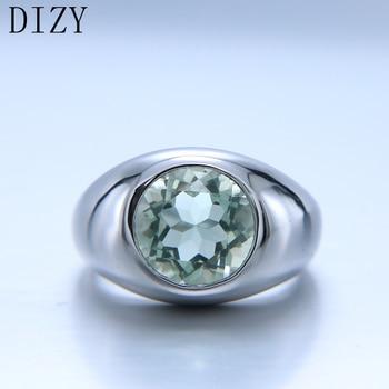 цена DIZY Natural Green Amethyst Ring Solid 925 Sterling Silver Round Cut Gemstone Ring for Women Engagement Jewelry Wedding Gift онлайн в 2017 году