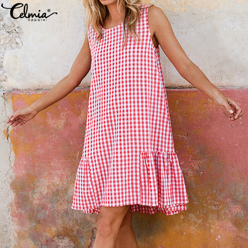 Bohemian Women Summer Plaid Dress 2019 Celmia Sexy Sleeveless Beach Sundress Casual Loose Pleated Long Shirt Vestidos Plus Size