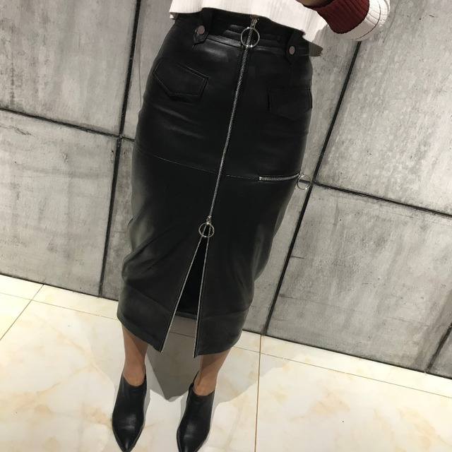 c2ed52520f women real leather skirt long ladies long leather skirt-in Skirts ...