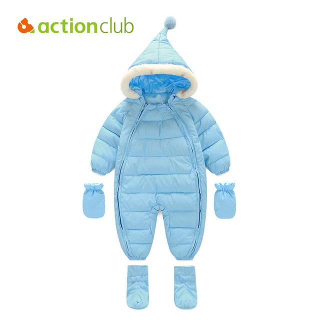 Actionclub Bebé Lindo Pato Mono Infantil de La Muchacha Zapatos Guantes Conjunto Mono Del Bebé traje para la Nieve Caliente Espesa Outwear Traje