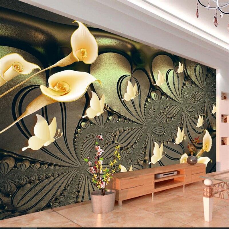 Beibehang European high-grade gold light Can Lily butterfly wall custom large mural green wallpaper papel de parede para quarto