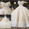 Luxury Off The Shoulder A-line Wedding Dresses Beaded Appliques Satin Lace Wedding Bridal Gowns Plus Size Vestido Custom Made