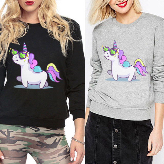 Spring Autunm 2018 Women Unicorn Fleece Hooded Hoodie Sweatshirt Jumper Pullover Tops Coat Harajuku Sudaderas Mujer