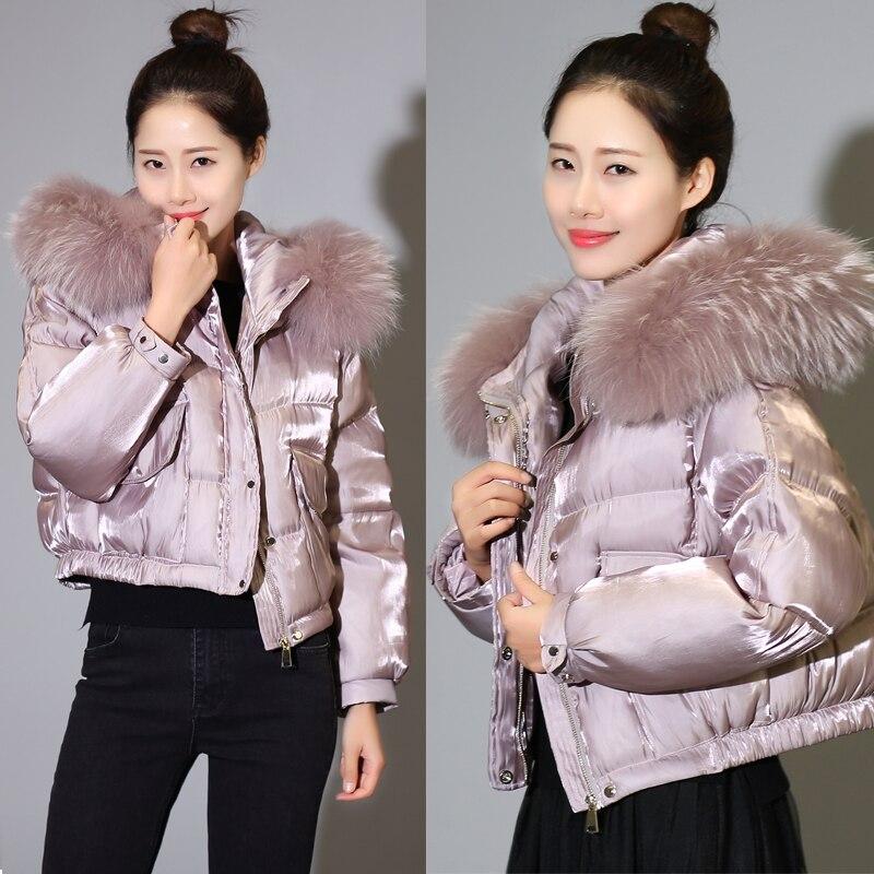 Корейское модное женское короткое пальто на утином пуху с большим воротником из меха енота, женские трендовые куртки с капюшоном, блестящие черные, розовые, xxl, 2xl