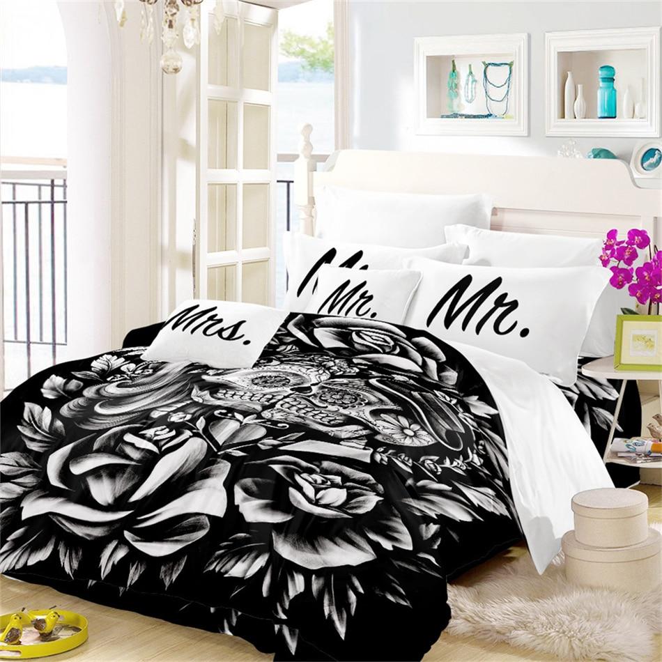 3D Bedding Set Rose Sugar Skull Duvet Cover Set Mr Mrs Print Pillowcase Halloween Valentine 39 s Day Couples Quilt Cover 3Pcs in Bedding Sets from Home amp Garden