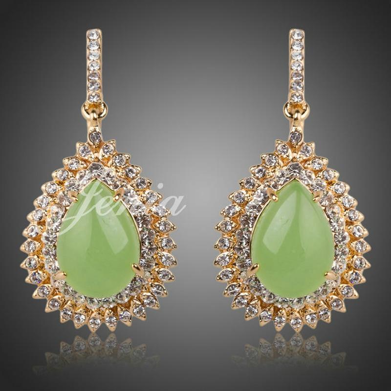 Женя бренд роскошные золотые Цвет Зеленый Опал Камень Висячие серьги заявление горный хрусталь украшения для Для женщин xe021