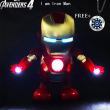 Dance hero Can Iron Man Marvel Avengers Action Figure Toy Led Flashlight With Light Sound Music Robot  Hero Electronic
