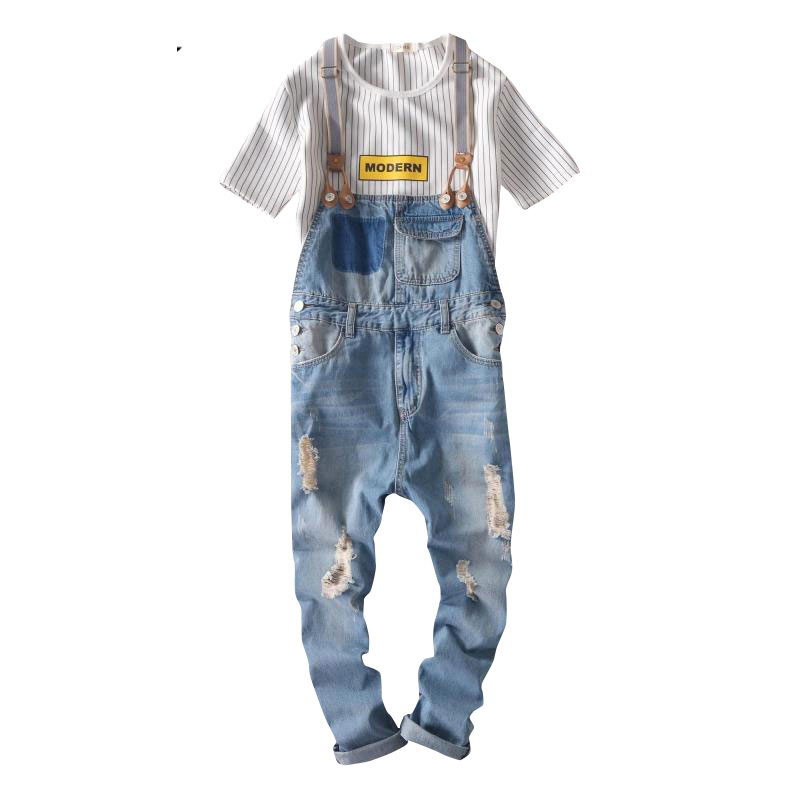 Bib pants Fashion Brand jeans denim Overalls  Casual Bib jeans men Ripped jeans for men Fashion designer denim trousers