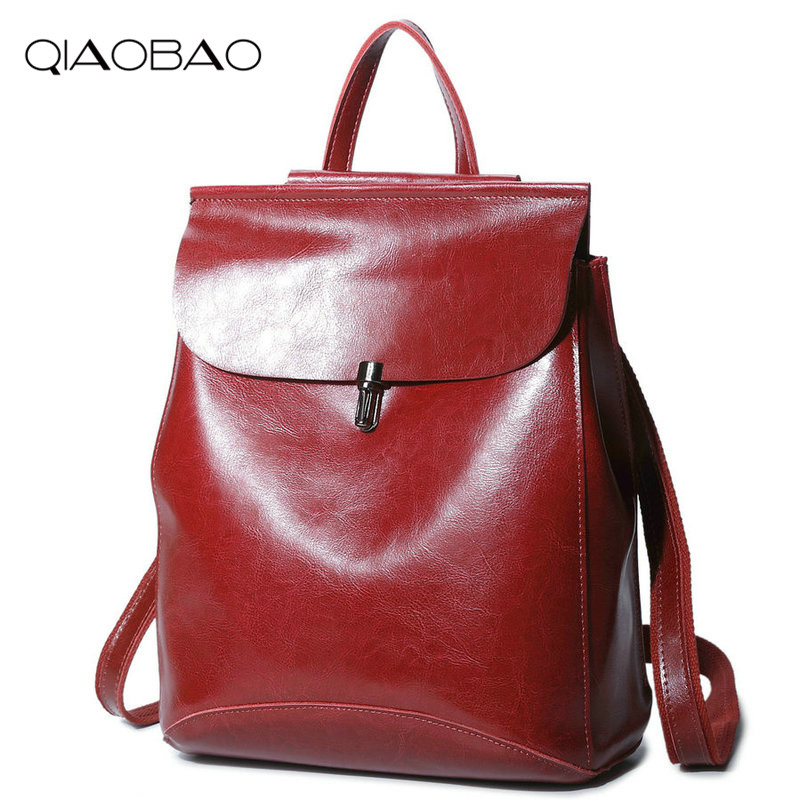 QIAOBAO Women Cowhide Backpack Youth Vintage Leather Backpacks for Teenage Girls New Female School Bag Bagpack mochila sac a dos women backpack mochila backpack for travel sac a dos korean style backpacks for teenage girls high quality bag gift for new year
