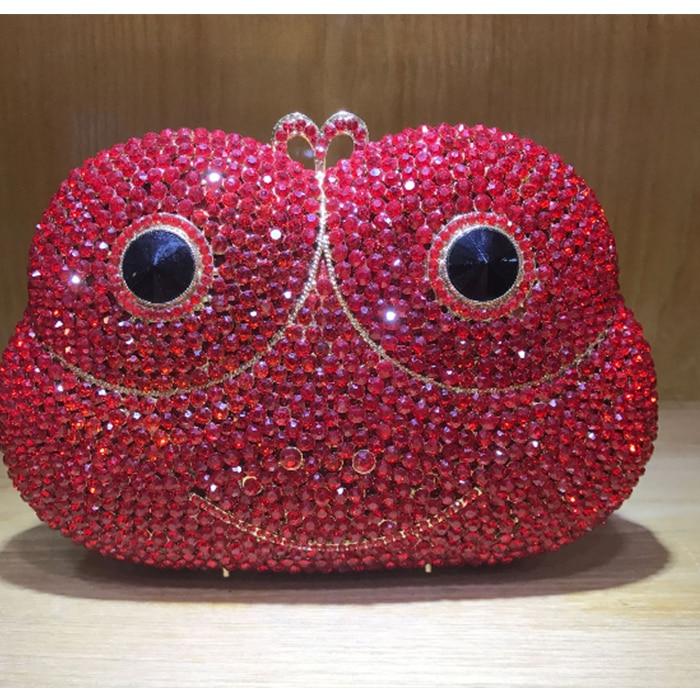Femmes rouge strass embrayage mini nuit sac à main cristal fête mariage grenouille sacs à main or argent portefeuille femmes embrayage sacs de soirée