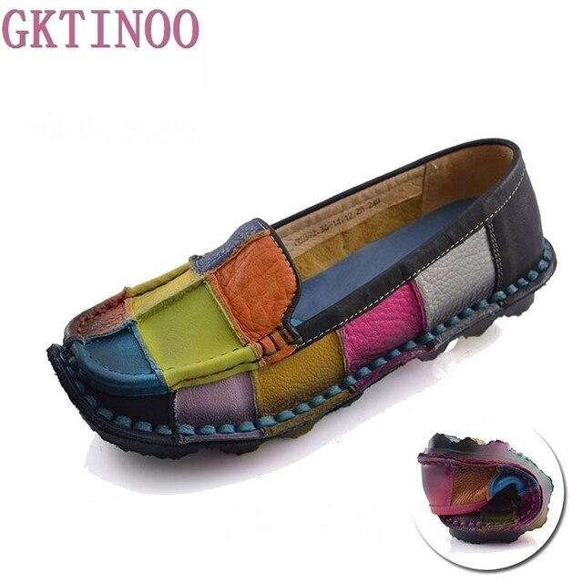 93b1eaeeb Handmade sapatos de couro genuíno das mulheres do vintage feminino sapatos  mocassins musculares vaca macio sola