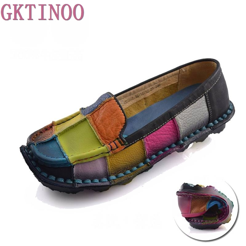 Handmade vintage women's shoes genuine leather female moccasins loafers soft cow muscle outsole casual shoes flats цены онлайн