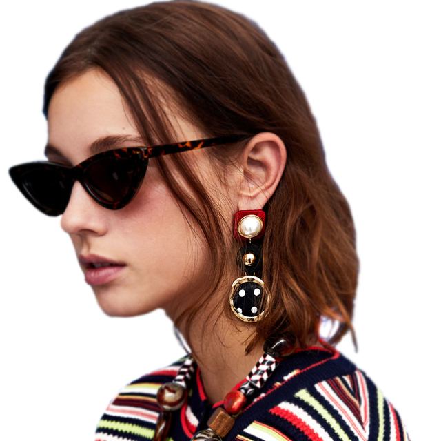 Vodeshanliwen Fashion Bohemian Simulated Pearl Drop Earrings For Women 2018 za Statement Dangle Earrings Accessories Wholesale