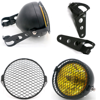 DC 12V Universal Headlamp for Motorcycle Refit Vintage Scooter Headlight Motorbike Classic Head Lamp with Net Motor Grill Lights