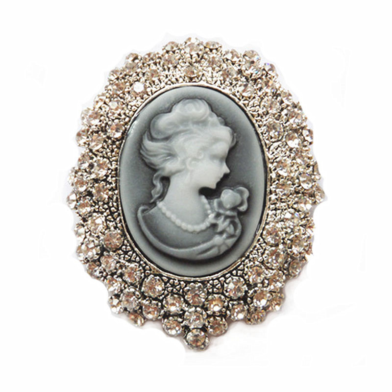 Vintage Style Clear Crystal With Lady Head Cameo Pin