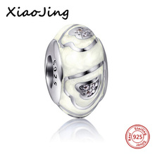 925 Sterling Silver Charm Beads With CZ & Colours of the rainbow Polishing Enamel Fit Pandora Bracelet charms DIY Jewelry Gifts