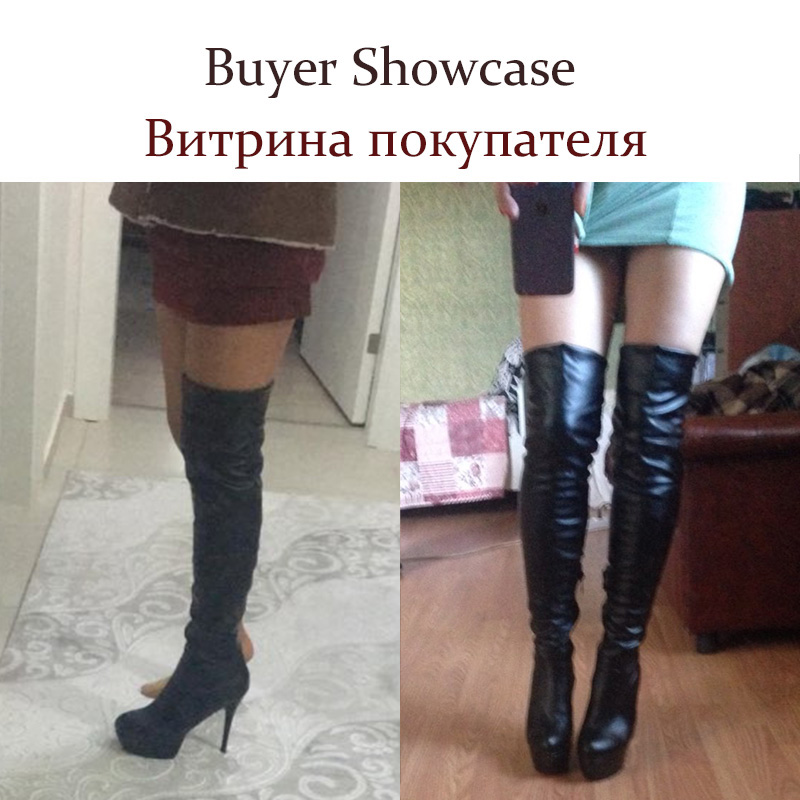 aee7be2a874 BONJOMARISA Plus Size 32 46 Fashion Over Knee Thigh High Boots Women Winter  Spring Sexy Thin High Heels Platform Shoes Woman-in Over-the-Knee Boots  from ...