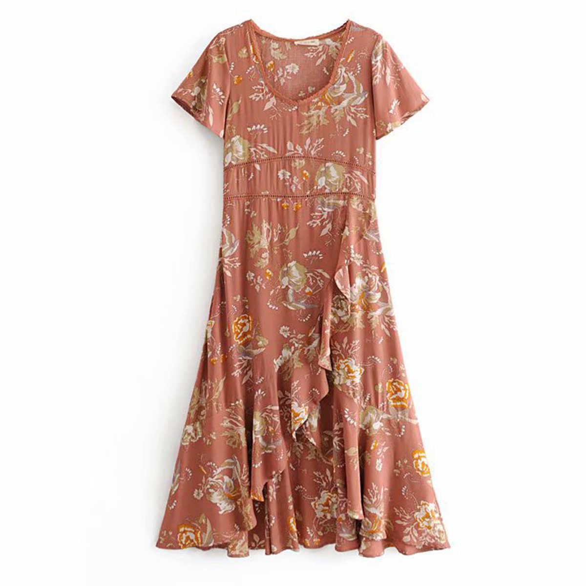 1d485b100e8 ... Jastie Rose Garden Party dress Lace V-Neck Flutter Sleeve Summer Dresses  Boho Chic Asymmetrical