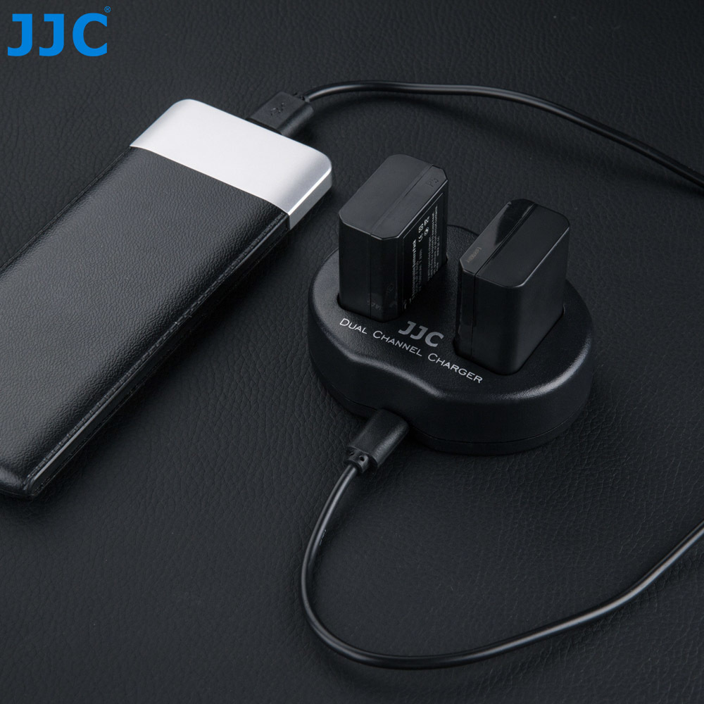 JJC USB Dual Battery Charger for Sony A6500/A6300/A7/A7R/A7II/RX10III/RX10IV/A5100 Lithium-Ion Rechargeable BatteryPack NP-FW50