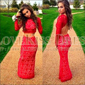 Red Lace 2 Piece Prom Dresses Backless Long Sleeve Homecoming Dress Mermaid Party Dress Custom Made Two Pieces Prom Dress
