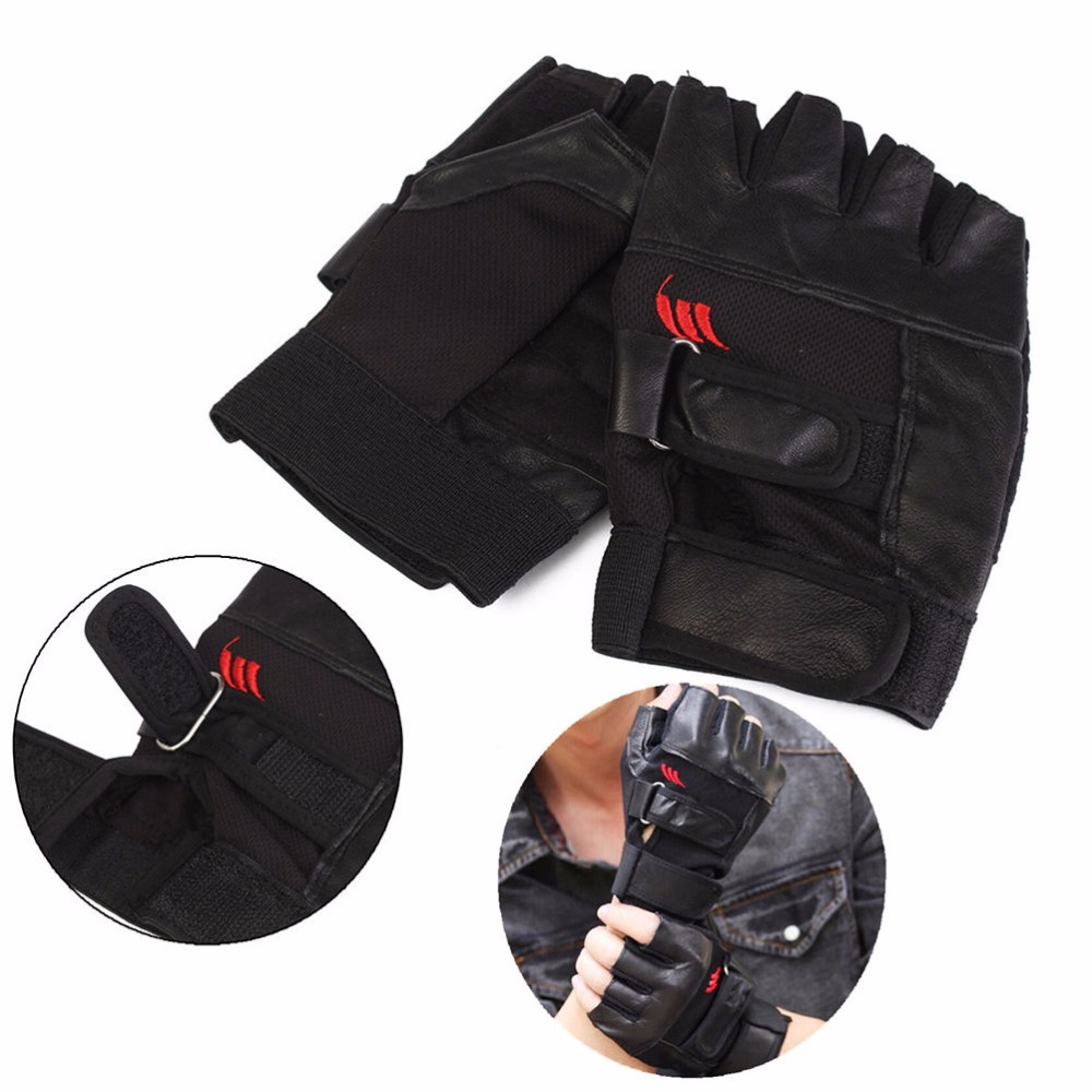 Black Leather Weight Lifting Workout Gloves: 1Pair PU Leather Weight Lifting Gym Gloves Men Black