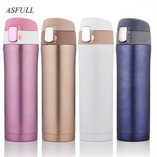 Thermos cup Thermos Mug Vacuum Cup 304 Stainless Steel insulated Mug 450ML Thermal Bottle Thermoses vacuum flask water bottle cheap ASFULL 0022 Eco-Friendly Lovers Vacuum Flasks Thermoses Straight Cup CE EU 6-12 hours