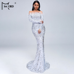 Missord 2019 женское сексуальное с открытыми плечами перо с длинным рукавом блесток в пол вечернее, макси блестящее платье FT19005-1