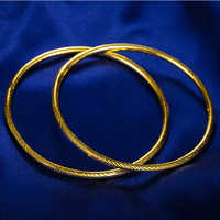 A Pair Of  24k Yellow Gold 999 gold Women's Bangle Bracelet Heavy gold 23g