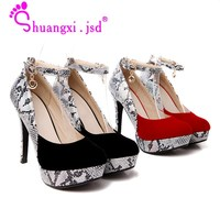 Shuangxi.jsd Women Shoes High Heels Fashion Red Super High 12cm Luxury Designer 2018 Wedding Shoes Sequin Plus size Ladies Shoe
