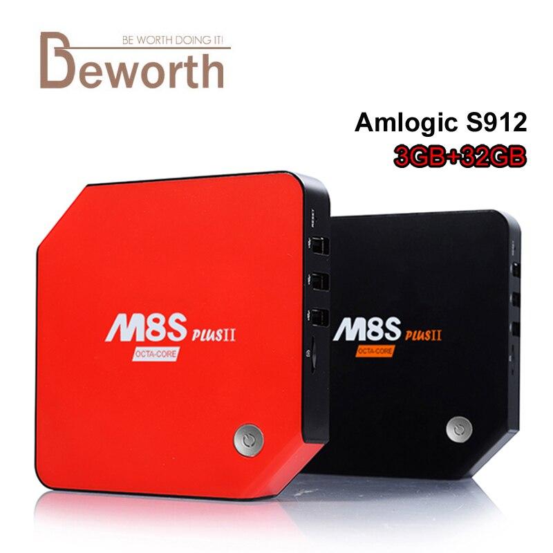 3 GB de RAM 32 GB M8S Plus II Amlogic S912 Octa Core Android 6.0 Caja de TV 2.4/