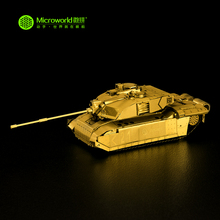 MICROWORLD 3D Metal Puzzle Challenger Main Battle Tank Assembly Military Vehicle Gold and Silver DIY Scale Model Toys