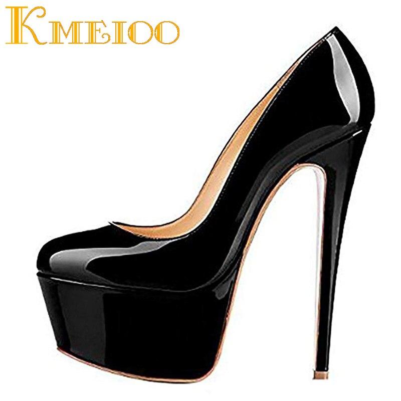 988b052397d Kmeioo Women Super High Heel 16CM Platform Pumps Round Toe Stiletto Slip On  Pumps for Wedding Party Ladies Shoes Plus Size 35-46