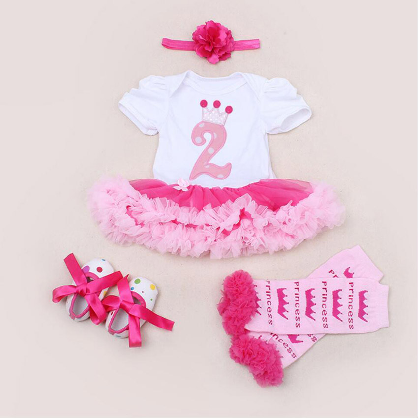 4PCs per Set Baby Girls Birthday Party Dress 2Years Jumpersuit Headband Shoes Leggins