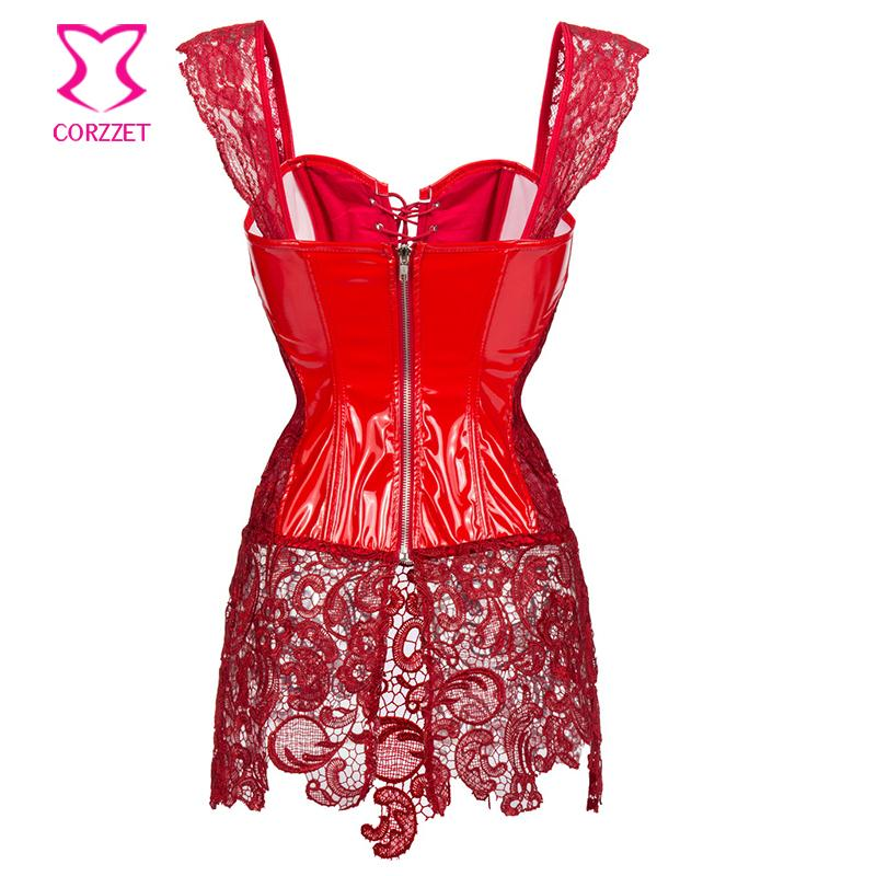75547eab431 Red Lace PVC Corset Dress Plus Size Corsets And Bustiers Sexy Gothic ...