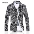 2016 New Autumn Men Shirt Leopard Cotton Slim Male Casual Shirts Long Sleeve Mens Dress Shirts Plus Size M-5XL 6XL High Quality