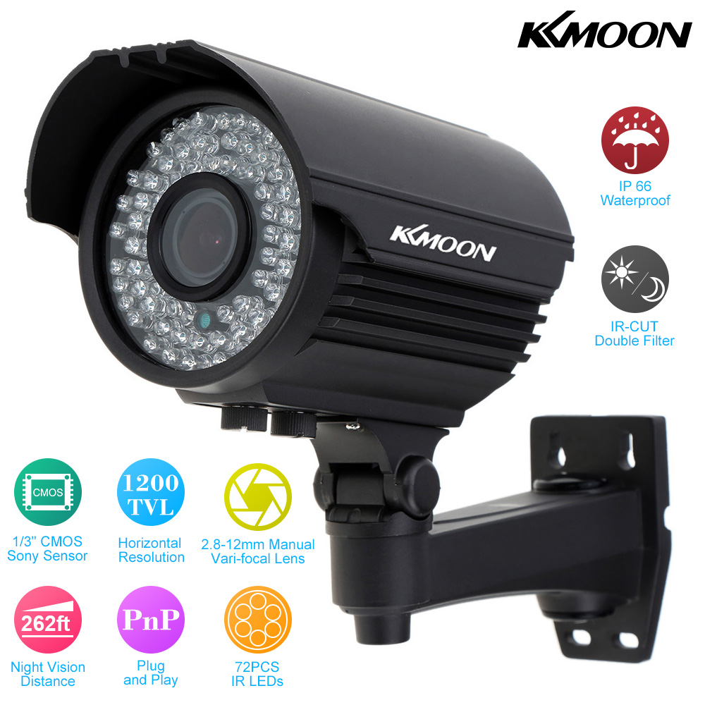 KKmoon Outdoor Waterproof 1200TVL HD Surveillance Camera 2.8~12mm Zoom  Varifocal CCTV Camera 72 IR LED IR CUT Security Camera-in Surveillance  Cameras from ...