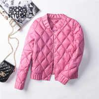 Winter Womens Down Jackets Ultra Light Duck Down Coat Short Black Puffer Jacket Female Autumn Parkas Outwear Plus Size SF1788