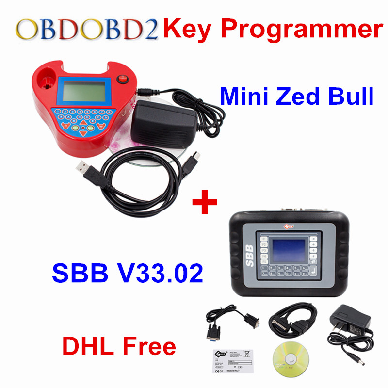 Full Set SBB Silca + Mini Zed Bull Key Programmer V33.02 SBB V508 Smart ZedBull Auto Key Pro Maker Transponder No Tokens DHLFree