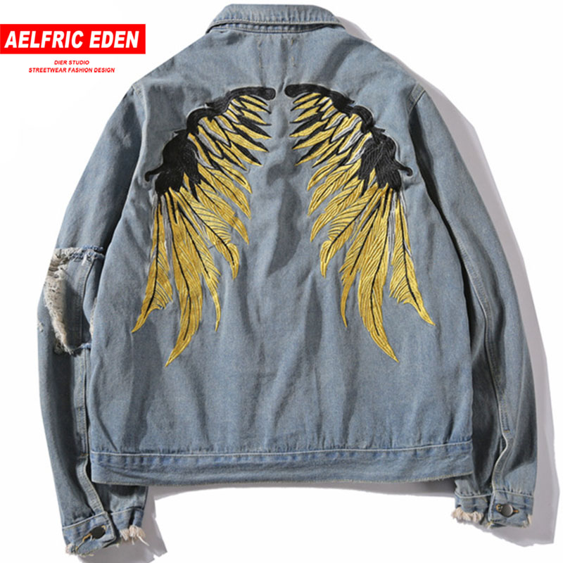 Aelfric Eden 2018 Spring Hip Hop Jeans Coats Men Gold Wing Embroidery Jacket Denim Ripped Hole Denim Jackets Streetwear OF064