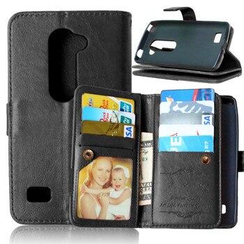 beeafe9371e Lujo Negro Business cuero Flip fundas funda para coque LG L70 l65 d320 dual  L90 d405n Leon 4G LTE c40 C50 H340 cubierta Carcasas