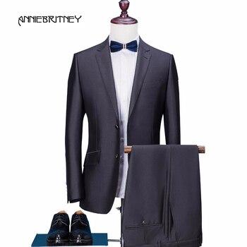 2018 New Brand Black Men Suit Groom Tuxedo Blazer Slim Fit 2 Piece Formal Business Prom Wedding Suit Terno Masculino jacket+Pant