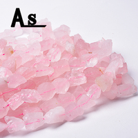 Asingeloo Rose Quartz Pink Crystal Blocks Freeform Irregular Shape Raw Rough Natural Stone Beads for Jewelry Making DIY