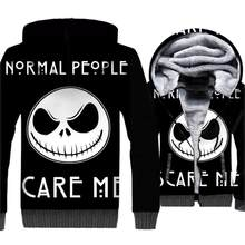 3D Print Hoodie Jack Skellington Hip Hop Jacket Male 2018 Autumn Winter Thick Zipped Sweatshirts For Men Skull Halloween Hoodies(China)