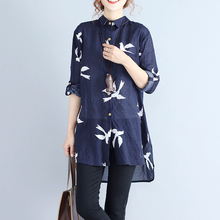 #2920 Spring Vintage Animal Printe Loose Casual Plus Size Shirt Tunic Women Cotton Linen Tunic Blouses Female Loose Dovetail цена и фото