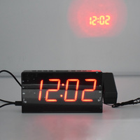 LED Projection Alarm Clock Digital Snooze Timer Temperature LED Display USB Charge Cable 110 Degree Table Wall FM Radio Clock