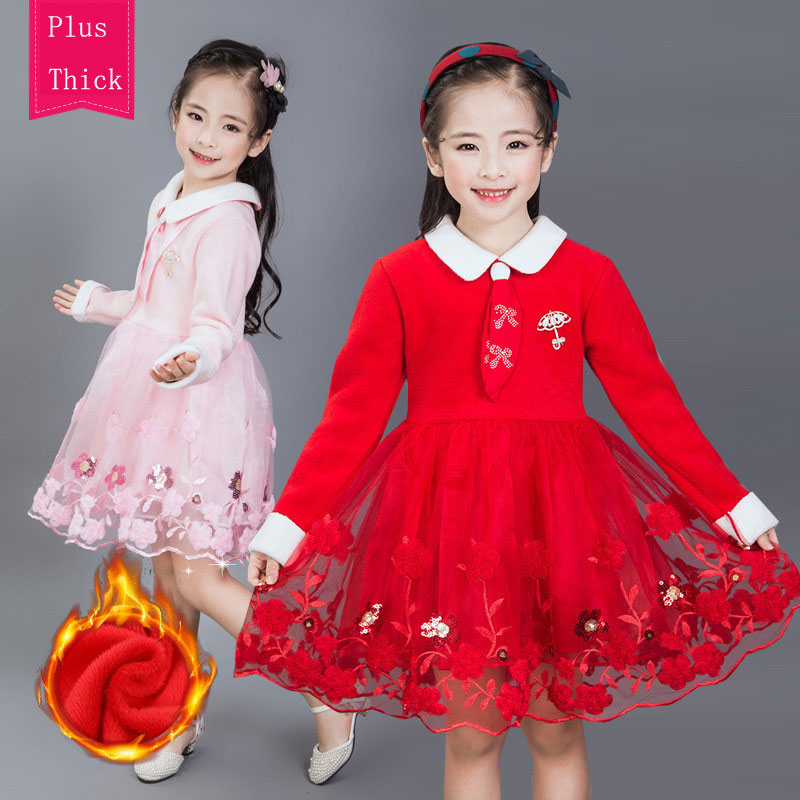 Winter New Year Girl Dress Christmas Costume Formal Party Occasion Vestidos Kids Warm Wear Embroidery Tutu Children Clothing new year baby first christmas santa dress for girls winter snowman holiday children clothing christmas party tulle kids costume
