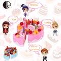 37 Unids Niños Juego de Imaginación Cocina Torta de Cumpleaños Juguetes de Los Niños Coloridos DIY Pastel de Frutas De Corte 21*10*20 cm con caja original HT3502