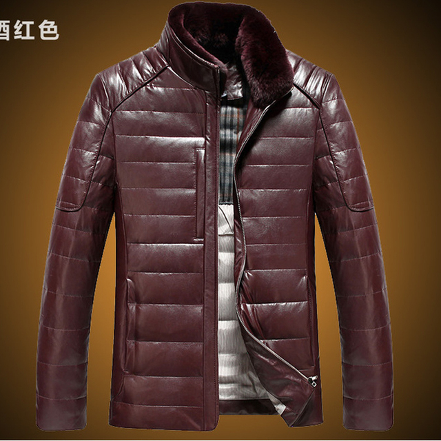 Faux Leather jacket men stand up real rabbit fur collar short design leather slim down coats jackets drop shipping g9089