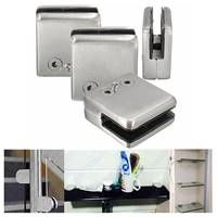 Useful 4Pcs Stainless Steel Square Clamp Holder Bracket Clip For Glass Shelf Handrails Silver
