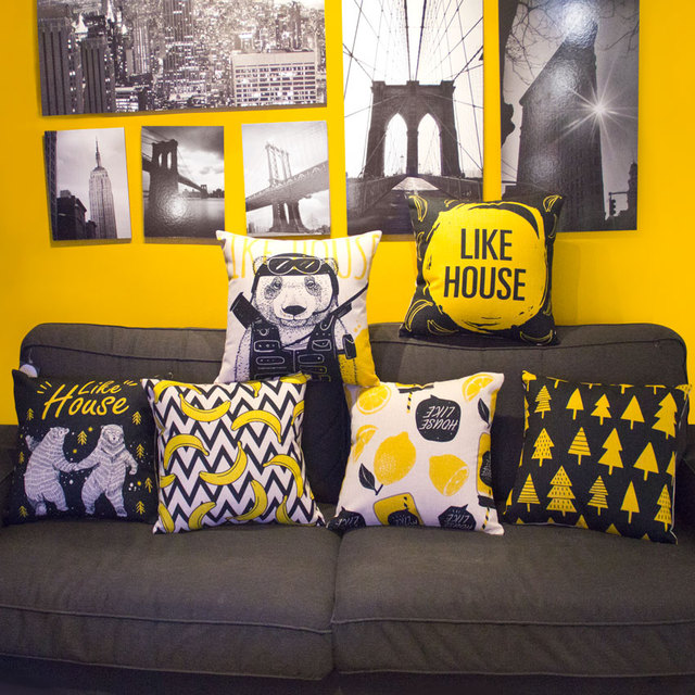 Black And Yellow Pop Cotton Linen Pillowcase Modern Cartoon Sofa Cushion Decorative Pillow Home Decor